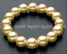Handmade 8/10/12/14mm South Sea Yellow Shell Pearl Round Beads Bracelet 7.5'' AA