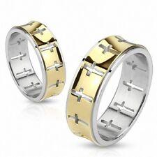 Ring Steel Golden Cross