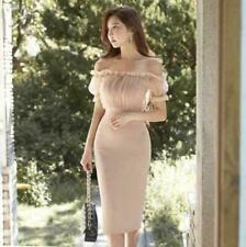 Womens Sexy  Korean Fashion Off Shoulder Slim Fit Slit Bodycon Formal Dress c878