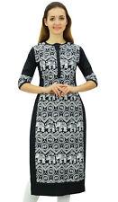 Phagun Women's Designer Straight Black Kurta 3/4 Sleeve Printed Casual Kurti