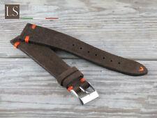 Cinturino in Pelle Scamosciata LS VINTAGE SUEDE 18 20 22 Watch Strap Testa moro