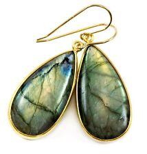 Labradorite Earrings Smooth Cut Large Bezel Simple Dangle Drops 1.7 14k Gold
