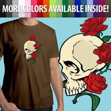 Skull Roses Flowers Skeleton Bones Tattoo Gothic Unisex Mens Tee Crew T-Shirt