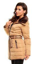 Piumino donna Invernale giubbino lungo con cintura e pelliccia staccabile Jacket