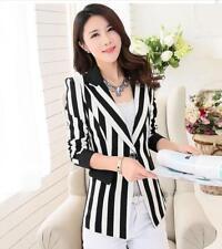 Chic Fashion Women's Black White Striped Slim OL Work Button Blazer Jackets Coat