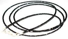 Natural Black Spinel  925 Sterling Silver Necklace 2 mm Rondelle Faceted Beads