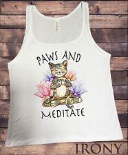 Jersey Top Yoga Cat Paws and Meditate - Lotus Meditation Cat Pose JTK1379