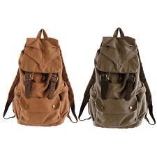 Mens Womens Vintage Canvas Leather Backpack Rucksack Laptop Satchel School Bag
