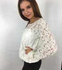 Damen Spitzen Bluse mit Top creme weiß Knopfleiste 38 40 42 44 46 48 50 neu 417