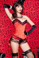 Red satin boned steel front busk corset