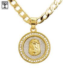"""Men's Fashion Jesus Medallion Pendant 20"""" /22"""" Cuban Chain Necklace Set CP 242 G"""