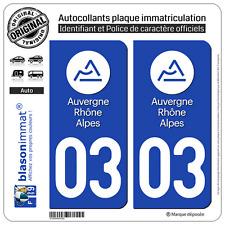 2 Stickers autocollant plaque immatriculation : 03 Auvergne Rhone Alpes LogoType