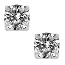 Round Cut Clear CZ Sterling Silver Set Magnetic Men Stud Earrings No Piercing