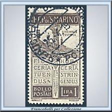 1923 San Marino - Pro Volontari L. 1 bruno n. 97 Usato