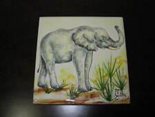 Mattonella 15x15cm dipinta a mano con elefante .na