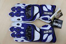 Tek Moto Gloves Blue w Leather Carbon Fiber Kevlar Gauntlet black white