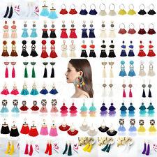 Women Tassel Pompon Beads Earrings Rhinestone Crystal Dangle Drop Charm Jewlery