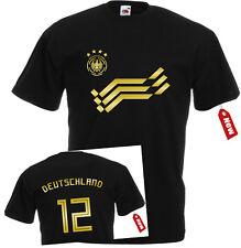 WM2018 T-Shirt Trikot Deutschland GoldDruck Nummer + Name unisex Herren+Kinder