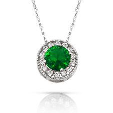 1.90Ct White Sapphire & Emerald Round Halo Charm Pendant 14K w Gold w/ Chain