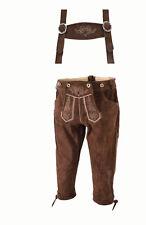 Ziegenleder Kniebundhose Wildlederhose Trachten Leder Hose bestickt braun