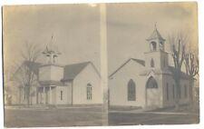 Pleasantville NY - TWO CHURCHES - RPPC Postcard