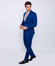 Slim Fit Herrenanzug in Blau mit Weste -Hochzeit-Bühne-Sakko -Anzug