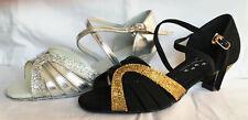 Ladies Black/Gold or Silver Ballroom, Latin, Salsa Dance Shoes - UK Sizes 3 - 9