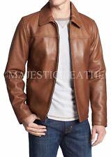 Mens Biker Motorcycle Brown Leather Jacket