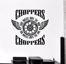 Wall Sticker Vinyl Decal Motorcycle Fire Bike Chopper Biker Wings Wheel (ed488)
