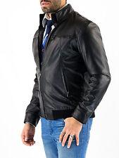 ★Giacca Giubbotto Uomo in di PELLE 100% Men Leather Jacket Veste Homme Cuir ze3e