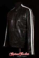 Mens RACER Leather Jacket Black White Stripes Classic Racing Napa Leather Jacket