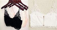 Mujer Sexy Encaje De Croché ahueque hacia fuera corto Tiras Sujetador Bralet