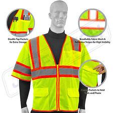 Hi Vis Safety Vest Reflective Sleeved Work ANSI Class 3, Pockets, Jorestech