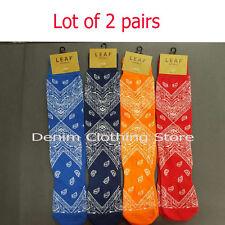 2 pairs LEAF Republic Men's Paisley Patterns Bandana Crew Socks Cholo Homie Tube