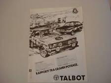 advertising Pubblicità 1980 TALBOT SUNBEAM TI/LOTUS