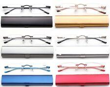 Slim Rimless Readers in Slim Curved Aluminium Case Reading Glasses Tube Reader