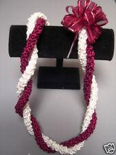 Hawaiian Rattail Ribbon Lei Maroon White Graduation