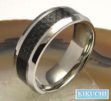 Wolfram Herren Ring Tungsten schwarz Karbon Männer Fingerring Herr