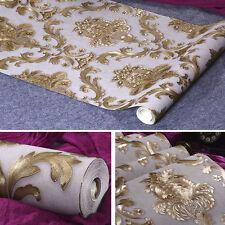 Gold Metallic Textured Damask Wallpaper Roll Home Decor PVC Luxury