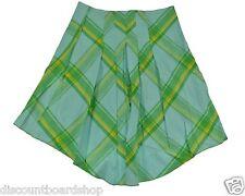 Billabong SEA BREEZE Green Blue Yellow 100% Cotton Plaid Pleated Junior's Skirt