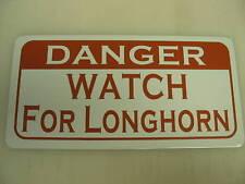 Vintage style DANGER LONGHORN Metal Sign Golf Univarsity of Texas Cattle