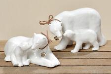 Eisbär mit Jungem Porzellan weiß, edel, 18 cm (114100) Dekofigur Weihnachtsdeko