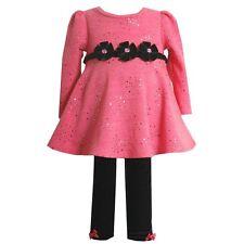 NWT Bonnie Jean Baby Girls Pink Black Sparkle Dress & Legging Set  size 18M CUTE