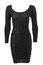 Ladies Long Sleeve Shiny Silver Black Lurex Short Womens Dress 8 - 14