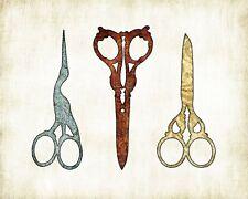 Sewing Scissors Watercolor Art Print by Dan Morris, option to mount print