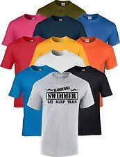 Swimming Eat Sleep Train Hardcore Swimmer T Shirt