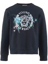 NWT NEW Young Versace girls navy blue Medusa floral logo Sweatshirt 6y S (9-10y)