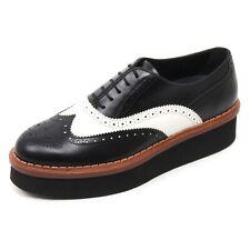 B7253 scarpa inglese donna TOD'S T50 3A BUCATURE scarpa bianco/nero shoe woman