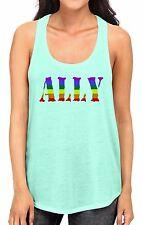 Junior's Rainbow Ally Mint Racerback Tank Top LGBT Equality Love Gay Pride B785