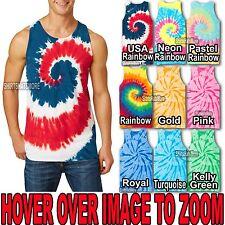 Mens Tie Dye TANK TOP Spiral Tye Die Sleeveless T-Shirt S-XL 2X, 3X, 4X NEW!